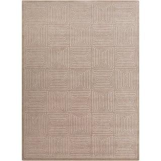 Hand-crafted Solid Beige Geometric Manhattan Beige Wool Rug (8' x 11')