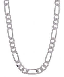 Sterling Essentials Sterling Silver 8mm Diamond-Cut Figaro Chain (22-inch)