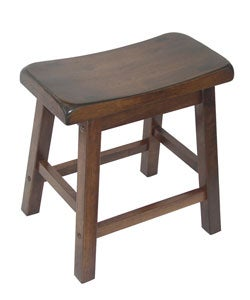 Saddle Seat 18-inch Walnut Barstools (Set of 2)