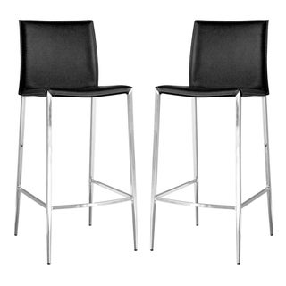 Broadway Black Leather Set of Two Barstools