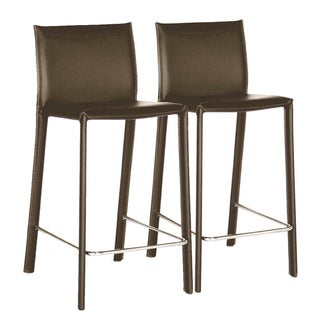 Kazan Brown Leather Barstools (Set of 2)