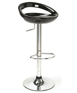Glossy Black Low Profile Modern Barstool
