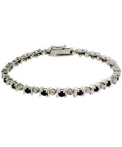 Glitzy Rocks Sterling Silver Diamond Sapphire Bracelet