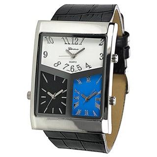 Geneva Platinum Men's 3-dial World Traveler Watch