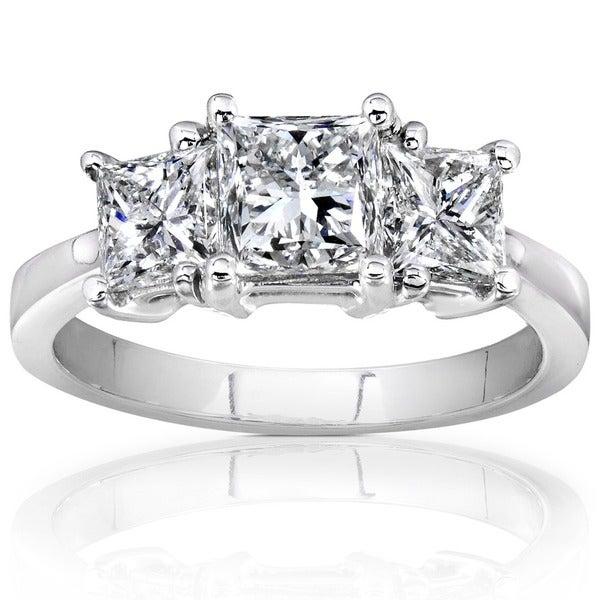 Annello 14k White Gold 2ct TDW Princess Cut Diamond Ring (H-I, I1-I2)