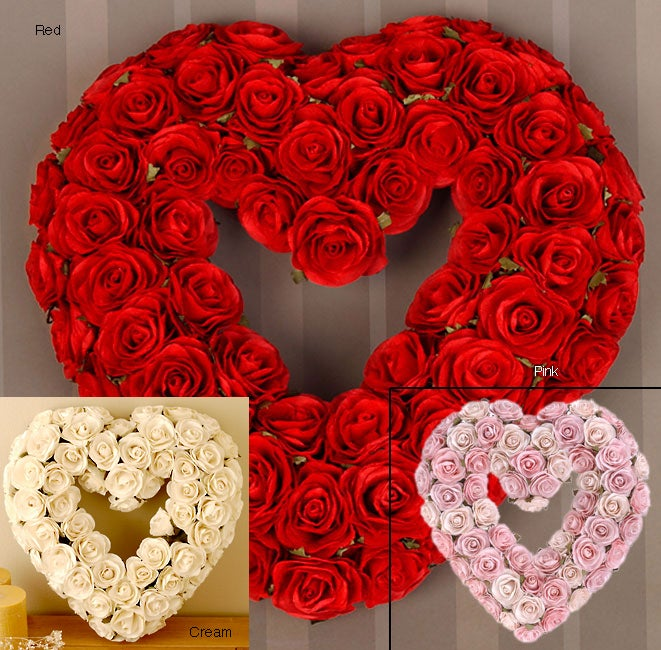 Kabella Red Rose Heart-shaped Wreath
