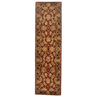 Safavieh Handmade Heritage Kashan Burgundy/ Black Wool Runner (2' x 8')