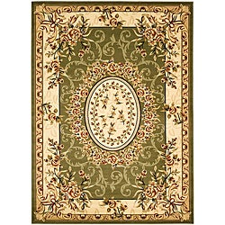 Safavieh Lyndhurst Collection Aubussons Sage/ Ivory Rug (5'3 x 7'6)