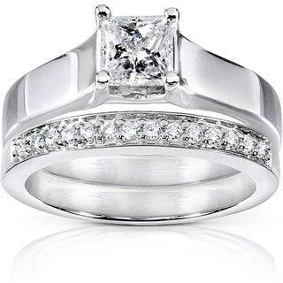 Annello 14k White Gold 5/8ct TDW Princess and Round Diamond