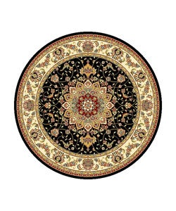 Safavieh Lyndhurst Collection Traditional Black/ Ivory Rug (8' Round)
