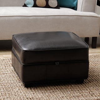 Espresso Brown Bi-cast Leather Storage Ottoman
