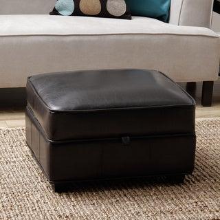 Espresso Brown Bi-cast Leather Storage Ottoman