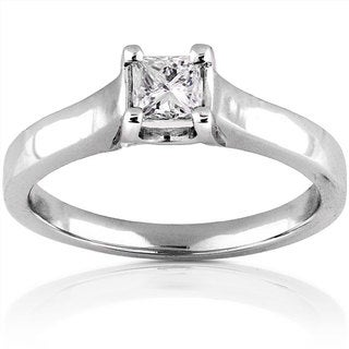 Annello 14k Gold 1/3ct TDW Princess Diamond Solitaire Ring (H-I, SI1-SI2)