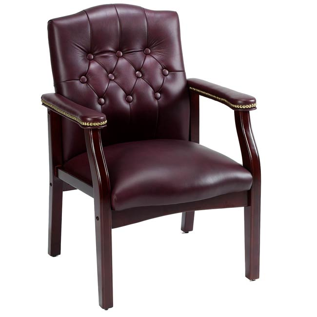 Traditional Executive Burgundy Bonded Leather Guest Chair