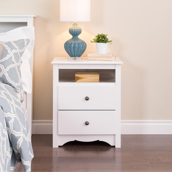 Winslow White 2-drawer & Open Cubbie Nightstand