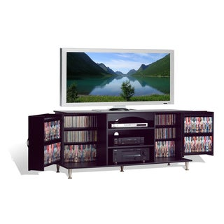 Broadway Black Large Flat Panel Plasma / LCD TV Console with Media Storage