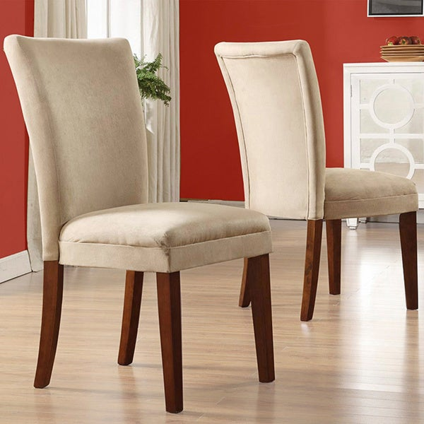 Tribecca home parson classic upholstered dining chair set for Upholstered parson dining chairs