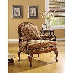 Salon Burgundy Brocade Chair