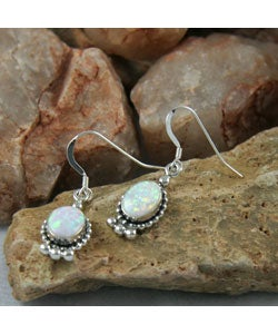 Handcrafted Oval Elegance White Opal Earrings (India)