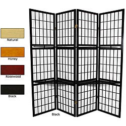 Wood and Rice Paper 4-panel Window Pane with Shelf Room Divider (China)