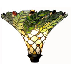 Tiffany-style Green Leaf Torchiere Lamp
