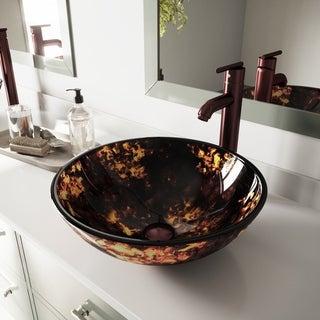 VIGO Brown and Gold Fusion Glass Vessel Bathroom Sink