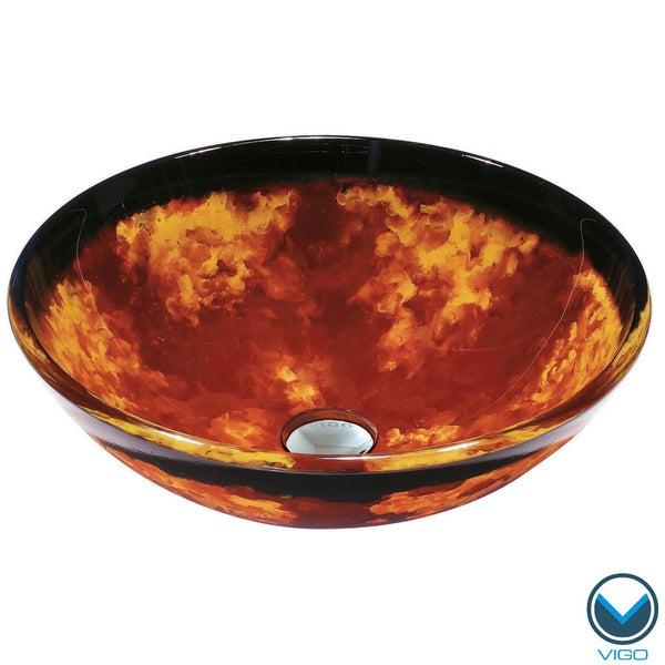 VIGO Auburn/ Mocha Fusion Glass Vessel Bathroom Sink