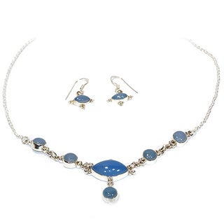 Serene Chalcedony Necklace and Earring Set (India)