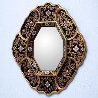 Handmade Deepest Midnight Framed Mirror (Peru)