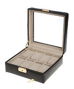 Elegant Black Leather Glass Top 8-slot Watch Box