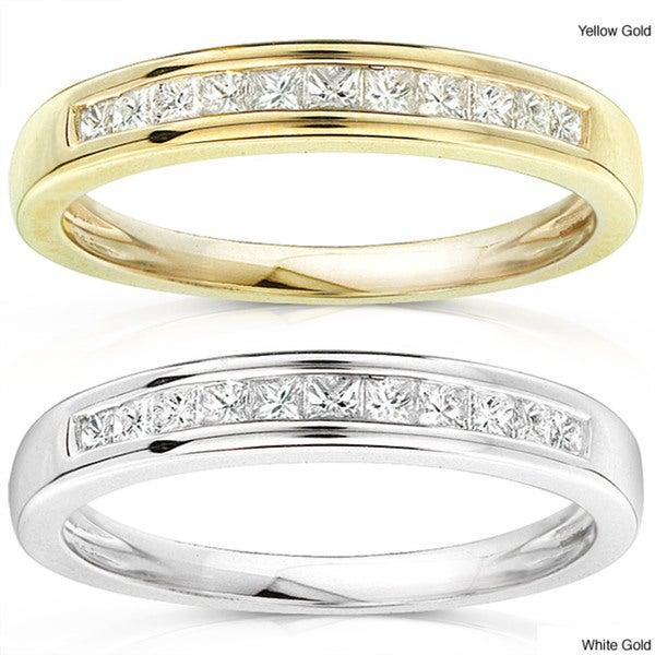 Annello 14k Gold 1/4ct TDW Princess Diamond Wedding Band (H-I, I1-I2)