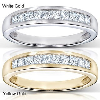 Annello 14k Gold 1/3ct TDW Diamond Semi-eternity Band (H-I, I1)