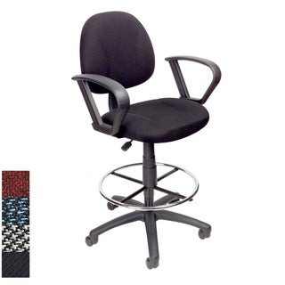 Boss Adjustable Black Loop Arm Drafting Stool With Wheel Casters Today