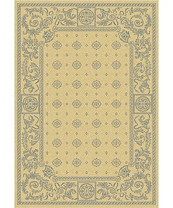 Safavieh Indoor/ Outdoor Beaches Natural/ Blue Rug (2'7 x 5')