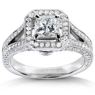 Annello 14k White Gold 1-1/3ct TDW Princess Cut Diamond Halo Wedding Ring