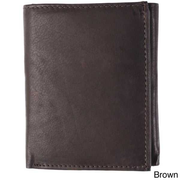 Boston Traveler York Collection Calf Leather Tri-Fold Men's Wallet