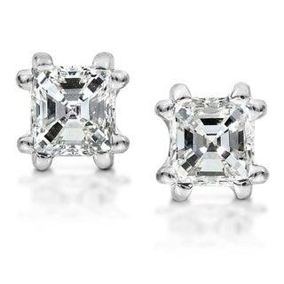 Annello 14k White Gold 1 1/4ct TDW Asscher Diamond Stud (H-I, SI1-SI2) with Bonus Item