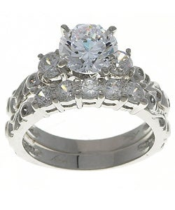 Sterling Essentials Sterling Silver Cubic Zirconia Wedding Ring Set