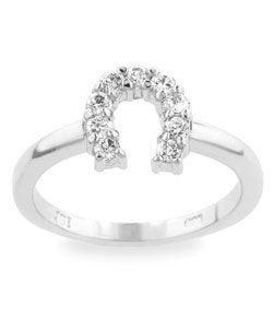 Kate Bissett Sterling Silver Pave CZ Horseshoe Ring