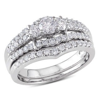 Miadora 14k White Gold 1ct TDW Round Diamond Wedding Ring Set (G-H, I1-I2)