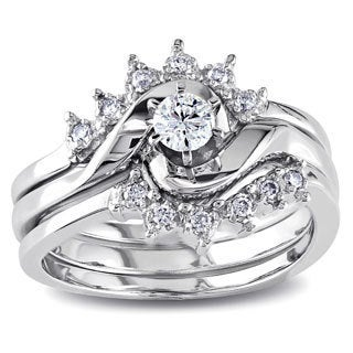 Miadora 14k White Gold 1/4ct TDW Round Diamond Wedding Ring Set (H-I, I1)