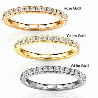 14k Gold 1/4ct TDW Diamond Semi-eternity Band