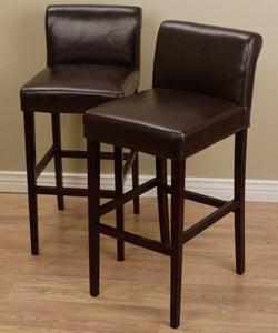 Cosmopolitan Dark Brown Leather Counter Stools (Set of 2)