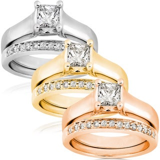Annello 14k Gold 3/4ct TDW Diamond Bridal Ring Set (G-H, I1)