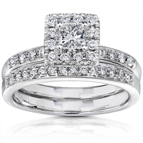 Annello 14k White Gold 3/5ct TW Princess Diamond Wedding Ring (I1-I2 )