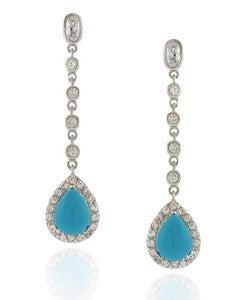 Icz Stonez Sterling Silver Turquoise Teardrop CZ Earrings