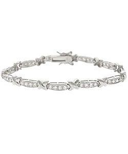 Icz Stonez Sterling Silver CZ X and Bar Bracelet