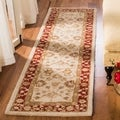 Handmade Ancestry Ivory/ Red Wool Runner (2&#39;3 x 10&#39;)