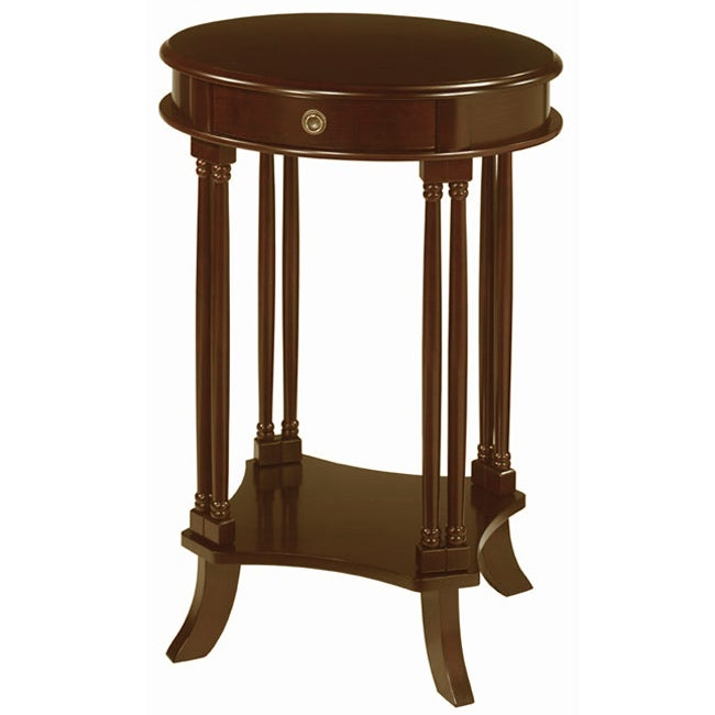 mahogany finish oval side table overstock shopping