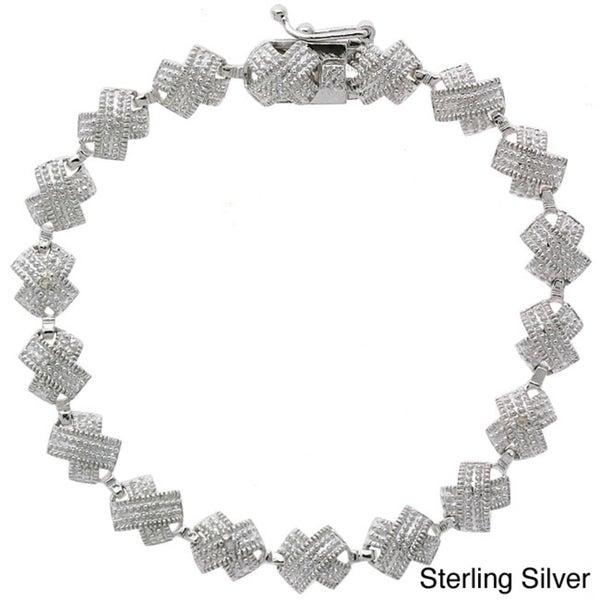 DB Designs Sterling Silver X Design Diamond Accent Tennis Bracelet